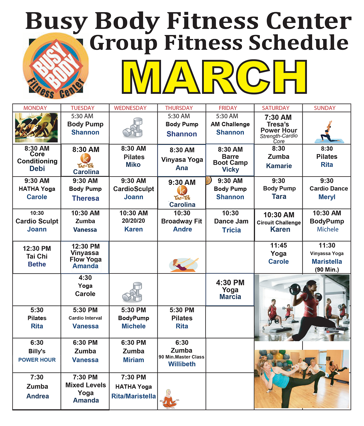 Busy Body Fitness Center West Boca Raton Group Fitness Class Schedule for March 2018