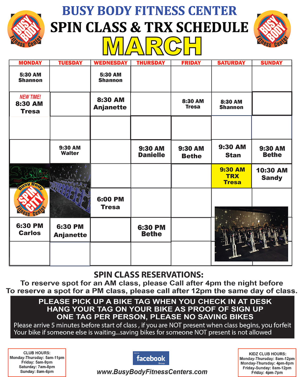 Busy Body Fitness Center West Boca Raton Spinning & TRX Class Schedule for March 2018