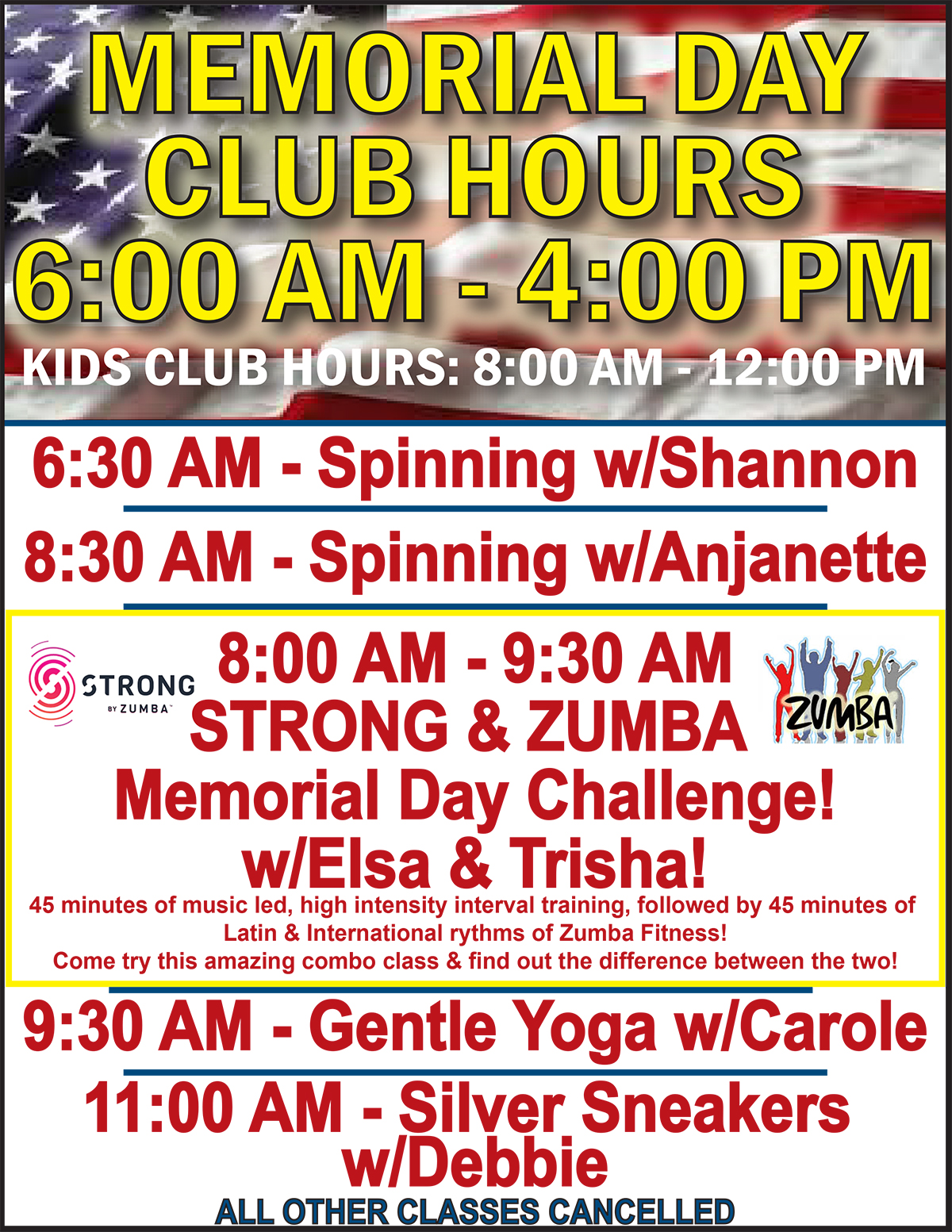 Memorial Day Hours & Classes