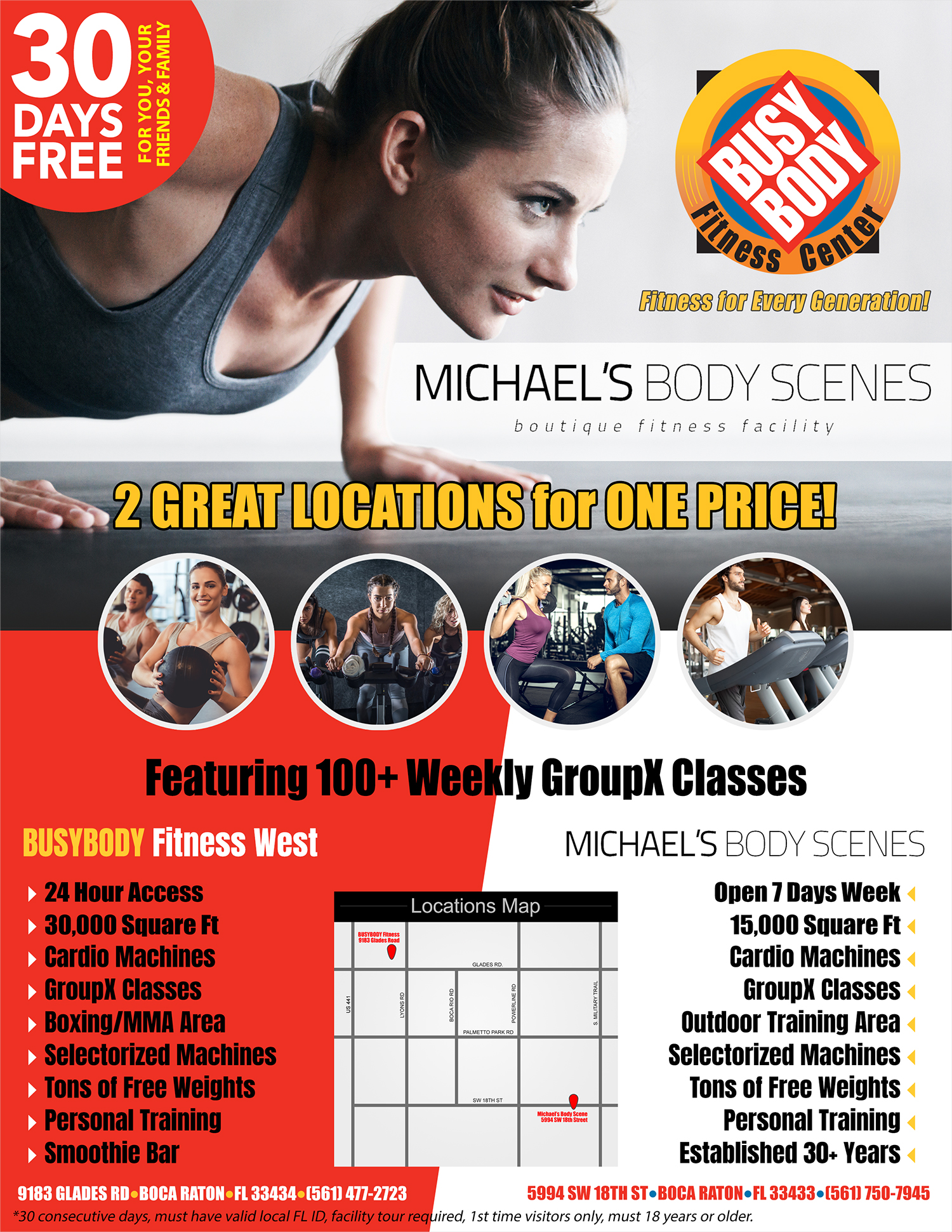 30 Days Free Flyer - 2 Great Locations